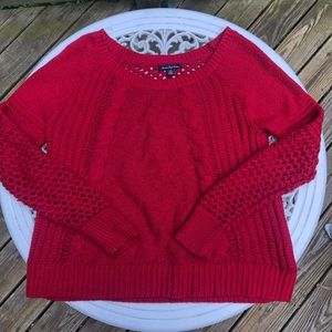 AE Red Loose Knit Sweater